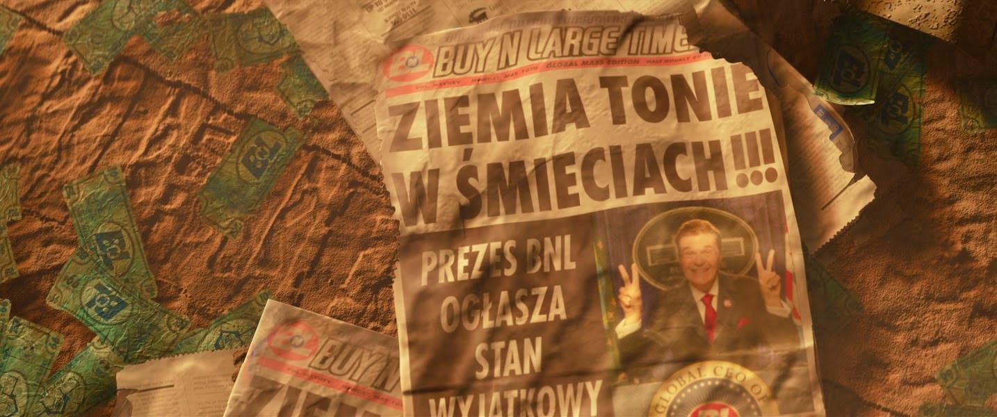 Os restos de um jornal impresso daBuy N Large Times.