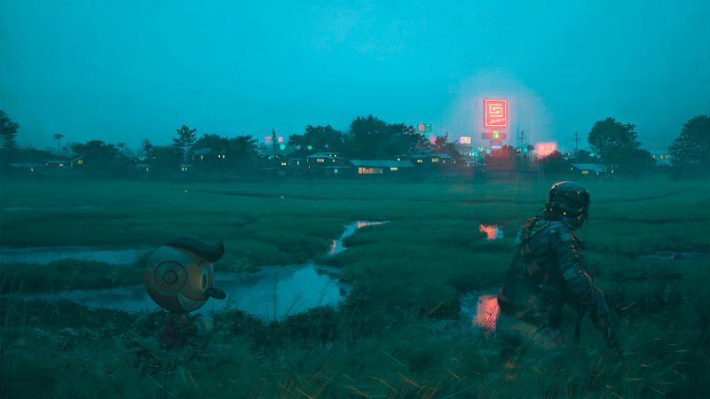 Soldado conectado a um robô em uma incursão em um subúrbio norte-americano qualquer.
