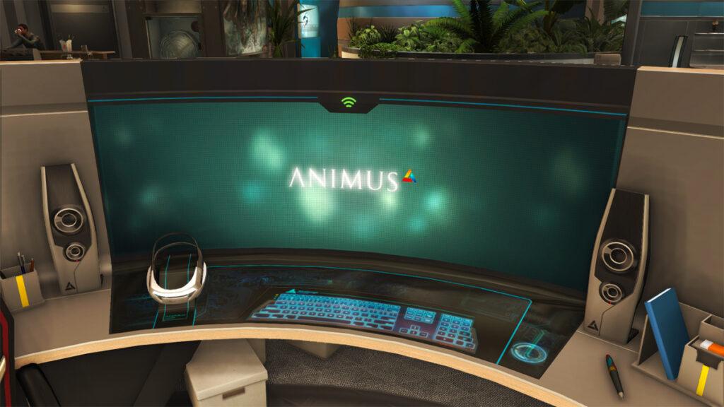 Estação de trabalho Animus na Abstergo Entertainment.