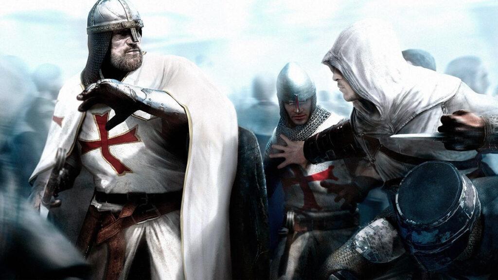 Imagem ilustrativa do conflito medieval entre templários e assassinos.