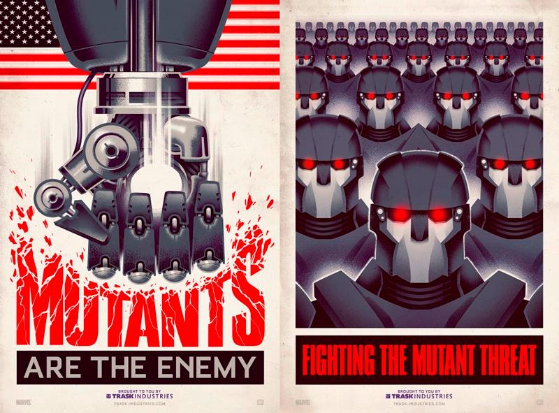 Posters políticos anti-mutantes.
