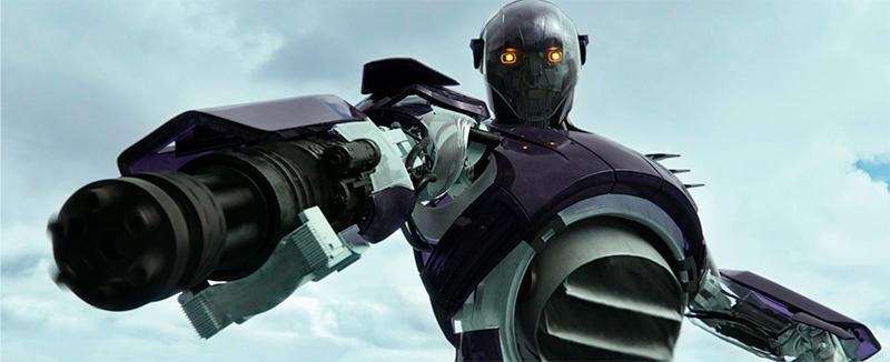 Robô Sentinela em posição de ataque.