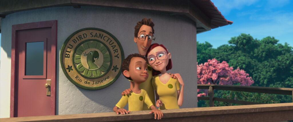 A família reunida em frente ao posto de vigilância do santuário.