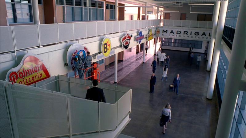 Portfólio no hall de entrada da sede corporativa.